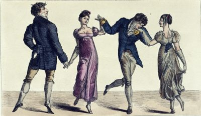 Old picture of four people doing courtly dance