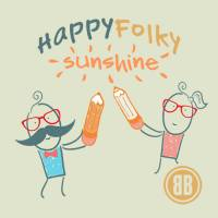 Two cartoon people with big pencils writing the words Happy Folky Sunshine